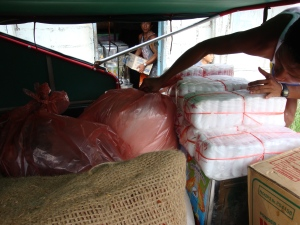 Disaster relief supplies for survivors of Cyclone Nargis in Burma