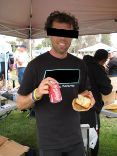 Triathlete at the 2007 Carpinteria Triathlon enjoying a post-race binge.