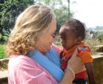 Diane Kirwin and friend in rural Bihar, India