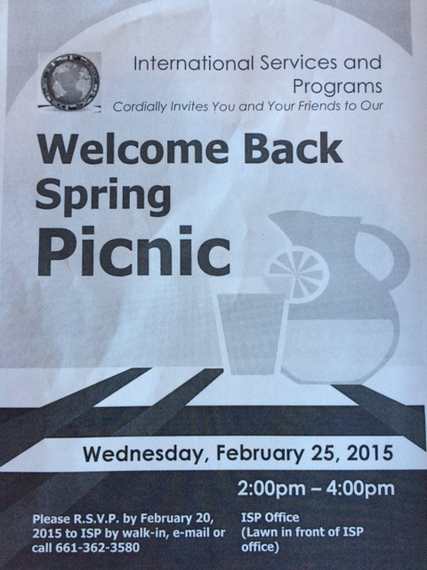 Welcome Back Picnic for International Students at College of the Canyons, February 25, 2015